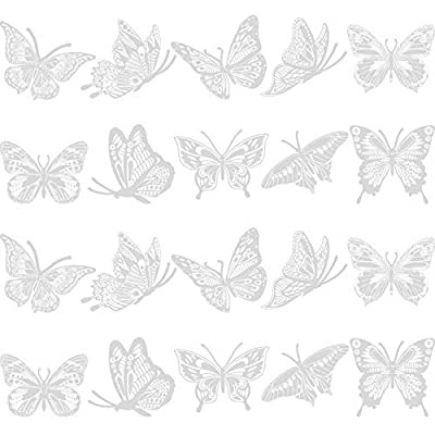 Large Size Butterfly Anti-Collision Window Clings Translucent/Dusted Alert Bird Clings Stickers Window Decals Prevent Bird Strikes on Doors and Windows Glass Decor (20 Pieces)