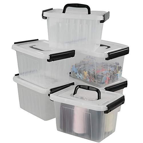 Lesbin Small Plastic Storage Box, 6-Pack 2.5 Liter Storage Bins with Lid