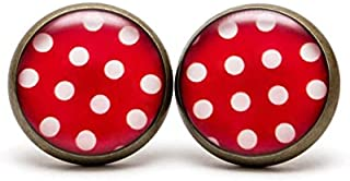 Polka dot Stud Earrings Red Polka Dots Jewelry Red White Dots Earrings Retro Polka Dots Earrings Dainty Red Dots