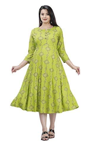 women's Rayon Anarkali Printed kurti (Green, XX-Large)