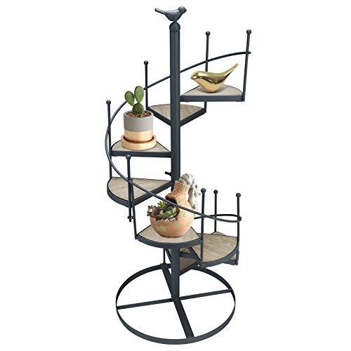 Diyarts - Fioriera a spirale a forma di scala in ferro, girevole, a più strati ideale per esposizione e decorazione da giardino