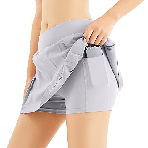 Corlidea Falda de tenis para mujer, con bolsillos y pantalón interior para correr, tenis, golf o yoga gris XL