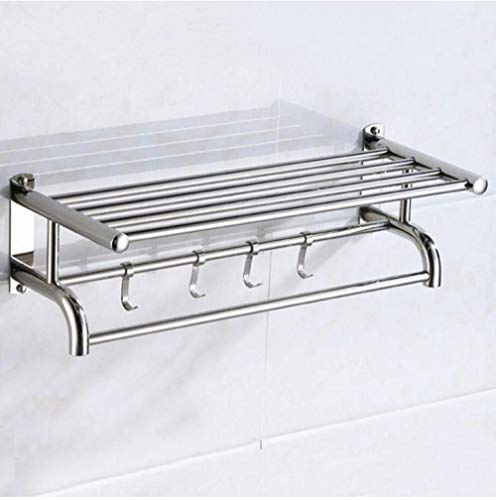 MLL Double Towel Rail Shelf Stainless Steel Chrome Fashion Bathroom Wall Towel Holder Kitchen Rack 50Cm