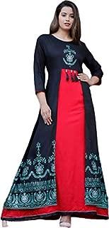 Black kite Women's Kurtas & Kurtis Rayon Long Kurti Long Kurti for Women Women's Dresses Rayon Maxi Dress