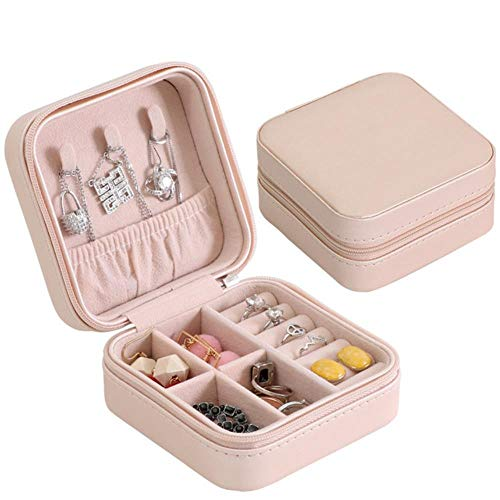 Portable Jewelry Case Boxes,Jewelry Organizer Display Travel Button Leather Storage with Zipper ,pink