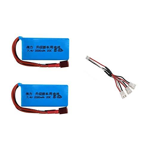 7 4V 2000mah batería Lipo para Wltoys V353 A949 A959 A969 A979 k929 7 4V juego de cargador de batería para helicópteros de coche RC-CHINA_azul
