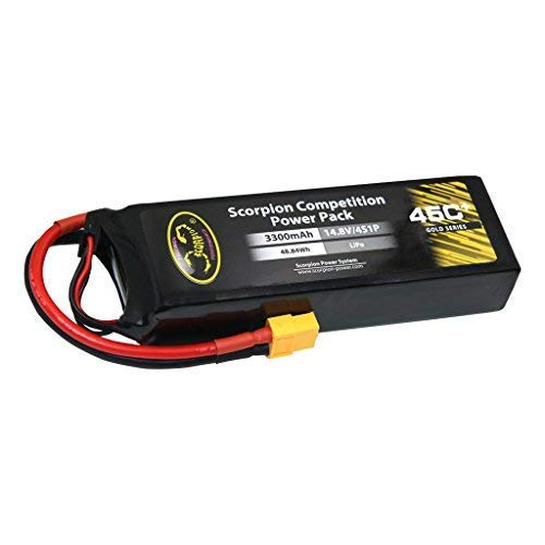 Scorpion 3300mAh 4S LiPo Battery 45C Pack with XT60 Plug for RC Boat Heli Airplane UAV Drone FPV Skylark Emax Nighthawk 250 (3300mAh-45C-4S)
