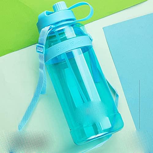 Botellas de agua de plástico de gran capacidad de 1L / 2L / 3L con pajitas para hombres y mujeres, taza portátil para exteriores, botella de agua deportiva, CN, 2.0L, azul