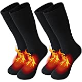 Thermal Boot Socks, Winter Extreme Cold Weather Boot Thermal Socks Outdoor Hiking Athletic Fuzzy Socks New Year Holiday Gift Giving 2 Pack Black Women, Medium