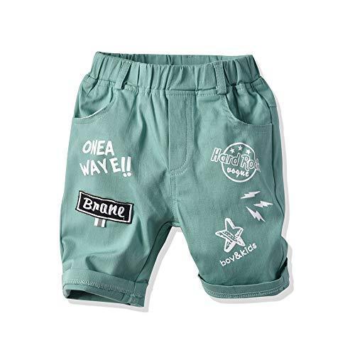 EULLA Baby Jungen Kinder Pants Buchstabe Hose Babyhose, 01-grün, 98 (Herstellergröße: 100)