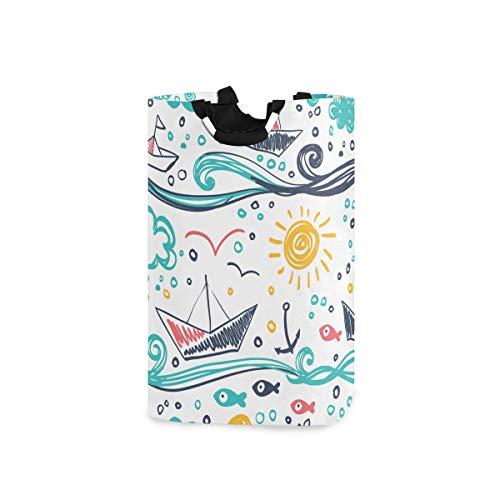 ZOMOY Impermeable Plegable Cestos para la Colada,Dibujos Infantiles Naves Pescado Sol Nubes Mar y Olas,Cajas de almacenaje Cestas de Tela para Guardar Organizadoras Juguetes Ropa