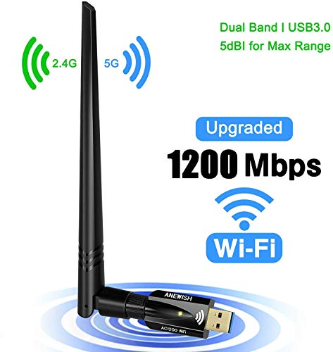 USB WiFi Adapter for PC 1200Mbps Dual Band 2.4GHz/5GHz Fast USB3.0 High Gain 5dBi Antenna 802.11ac WiFi Dongle Wireless Network Adapter for Desktop Laptop Supports Windows Mac (Black)