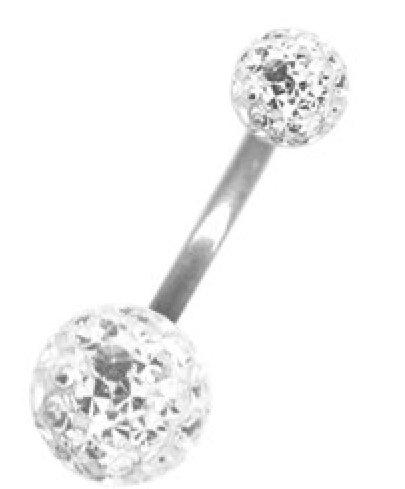Karisma Bauchnabel Piercing Mit Swarovski Elements 5/10mm XL Kugel Beschichtet- Weiss.12mm