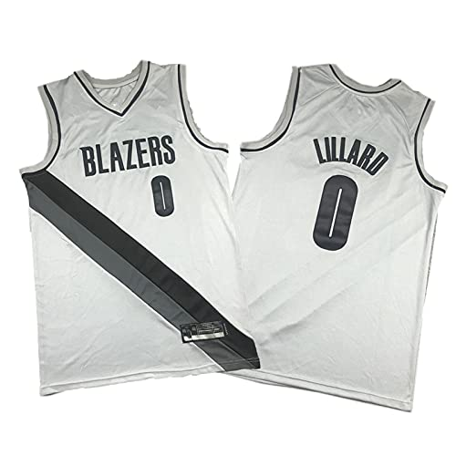 ERPA Lillǎrd Camisetas de Baloncesto para Hombres, 2020-21 Trail Blǎzers # 0 Point Guard Swingman Ganed Edition Jersey - Grey M