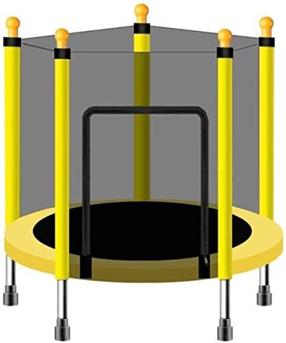 Pulley - Cama elástica redonda para niños para uso interior y exterior pequeño para niños con red de seguridad y 55 pulgadas de seguridad O (color: C)