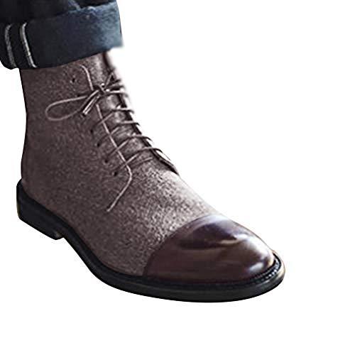 Minetom Herren Derby Schnürhalbschuhe Mode Farbblock Wildleder PU Sneaker Klassische Kurzschaft Stiefel Mokassins Anzugschuhe Business Schuhe Braun EU 45