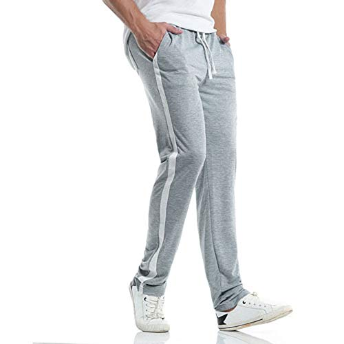 TIFIY Herren | Jogginghose | Trainingshose | Summer Sport Fitness | Gym | Training | Slim Fit | Sweatpants Streifen | Jogging-Hose | Cargohose Pants | (Grau,L)