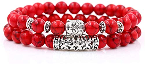 KEEBON Pulsera de Piedra Mujer, 2 unids/Set 7 Chakra 8mm Natural Rojo Turquoise Beads Elástico Bangle Buddha Jewelry Pray Yoga Energy Balance Reiki Charm Regalo para Hombres