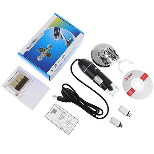 siwetg Digitales 3-in-1-Mikroskop, 1600-fache Unterstützung, PC, Typ-C, Micro-USB, Telefon, USB-Lupe, USB-Mikroskop, 1600-fache Vergrößerung, mit 2 Adaptern