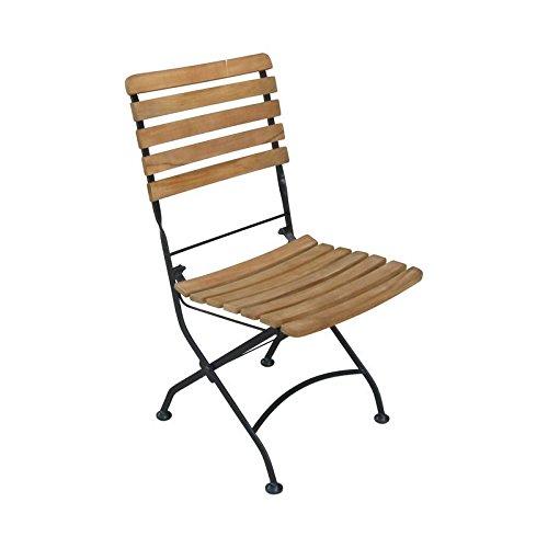 SEDEX Flex Gartenstuhl Klappstuhl aus Akazienholz mit schwarzen Gestell