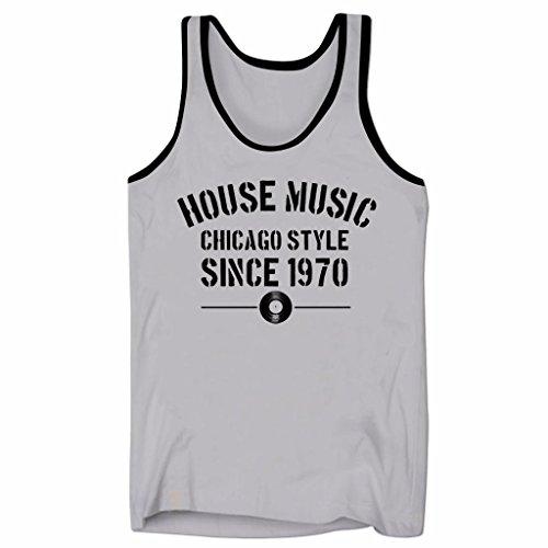 Camiseta de Escote bajo para Hombre con Vinilo de House Music Chicago Style Since 1970 para Fiesta de Verano y DJ en Gris y Negro Talla XXL