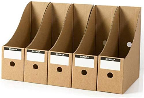 LIUTAO Portacarpetas de Carpeta 5 Piezas/Juego Llenado de Relleno Caja de Almacenamiento Papel Kraft Organizador de Papel de Escritorio Papelería de Escritorio de Oficina Plegable-Caqui
