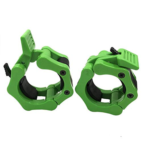 "Greententljs. Olympic Bar Collar - 2"" Olympic Dumbbell Bars Barbell Clamp Collars - Rogue Bumper Weights Plates Grip Collars Workout for Strength Weightlifting/Pro Training (1 Set, Green)"