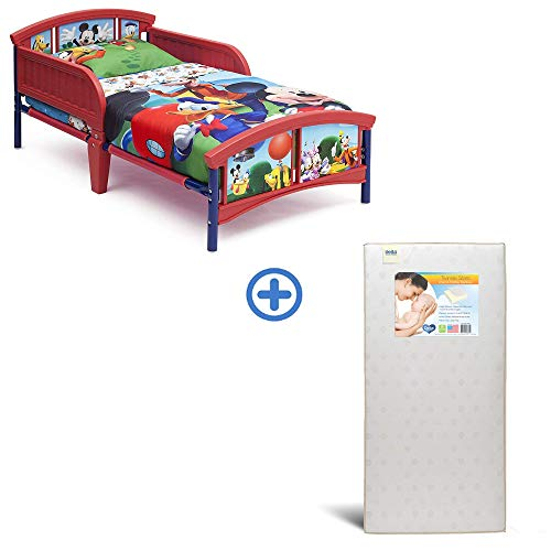 Delta Children Plastic Toddler Bed, Disney Mickey Mouse with Twinkle Stars Crib & Toddler Mattress