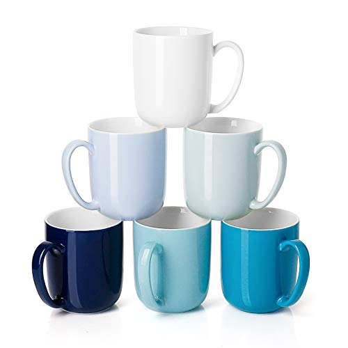 Sweese 604.003 Porcelain Mugs for Coffee, Tea, Cocoa, 15 Ounce, Set of 6, Multicolor, Cool Assorted...