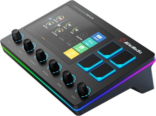 AVerMedia Live Streamer Nexus - 6-Spuren Audio Mixer mit IPS-Touchscreen zur Interaktion sowie Aktionen für OBS Studio, Streamlabs OBS, Spotify (AX310)