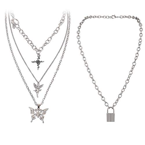 Butterfly Lock Chains Necklace Angel Layered Choker Emo Aesthetic Chunky Chains for Eboy Egirl Women Men (#1-Silver)