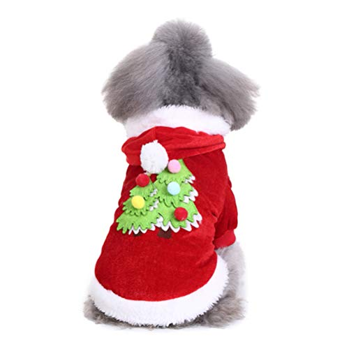 POPETPOP Haustier Weihnachtskostüm-Modische Haustier-Kostüme Weihnachtshundekostüm-Partei-Klagen für das Hündchen Größe M rot
