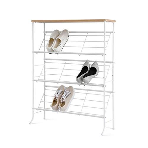 Zapatera 3 niveles estrechos zapatos de acero al carbono de acero al carbono MDF Soporte de zapatos de madera Zapatos de almacenamiento Estante de almacenamiento Inicio Corredor Entrada Sala de estar