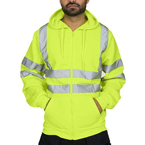 WuWangHai Reflexstreifen Herren Kapuzenpullover Strickpullover Norweger Pullover Langarm Sweatshirt, Winterpullover, Männer Bikerjacke Winterjacke Mode Cool Jacke
