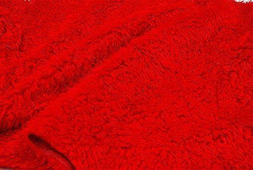 lockig Teddy Kunst Stoff - Intensives Rot - Rot, 5Mtr - 500cm x 150cm