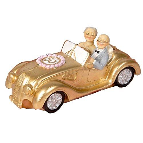 Aoneky Figura de Bodas de Oro para Pastel Tarta - Figura de Pareja en Coche para 50 Aniversario, Regalo Original para Padres Abuelos, Decoración de Resina para Pastel Tarta, Color Dorado