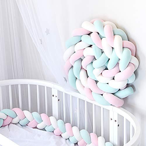 YIKANWEN Bettumrandung, Baby Nestchen Bettumrandung Weben Kantenschut Stoßfänger Dekoration für Krippe Kinderbett,Länge 2M