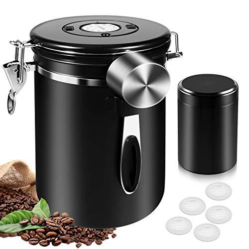 Bote para Café hermetico, Frascos de almacenamiento de acero inoxidable 1800ML con mini tarro de viaje de 60 ml, Rastreador de fecha, Cuchara de medición de 30 ml y válvula de CO2 unidireccional