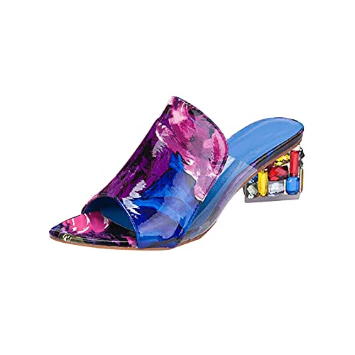 Fullwei Women Heels Sandals Platform Colorful Cute Dress Open Toe Slip On Ladies Cute Walking Sandals Shoe for Women Bride In Wedding Bridal Party Homecoming (Purple, 8)