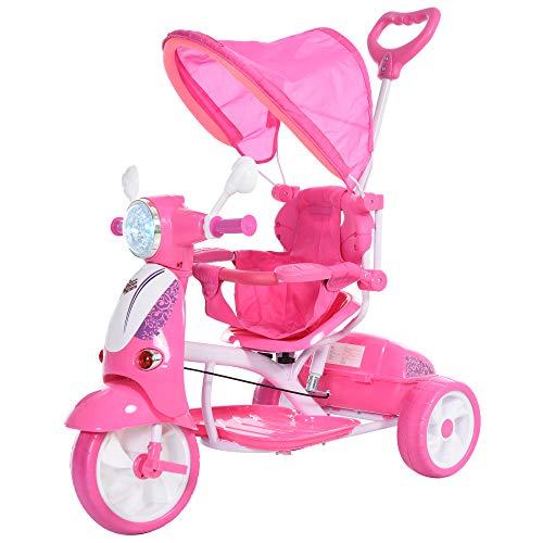 HOMCOM Triciclo para Niños Mayores de 12 Meses Triciclo Evolutivo Plegable con Funciones de Luz y Música Toldo Forma de Motocicleta 102x48x96 cm Rosa