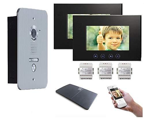 4 Draht Türsprechanlage Gegensprechanlage Video Bildspeicher mit 2x7'' LCD Monitor WLAN Schnittstelle