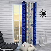 Home Ready 1 Piece Eyelet Polyester Long Door Curtain Set-Size-8 feet Long,Blue