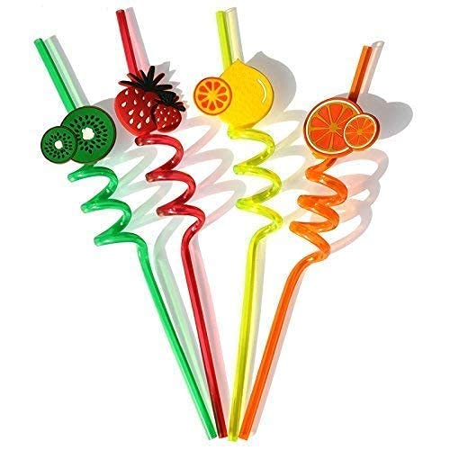miRim Presents Reusable Spiral Straw for Kids & Party Useful for Juice Drinks Mock Tail in Attractive Designs (Assorted Print's & Multicolor) (4)