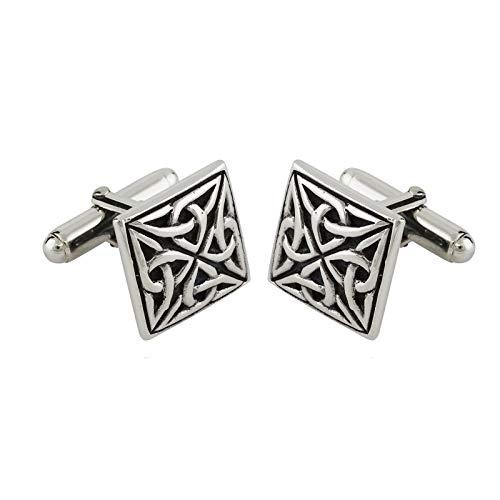 Celtic Square Mens CufflinksTrinity Knot Art Cufflinks 925 Sterling Silver