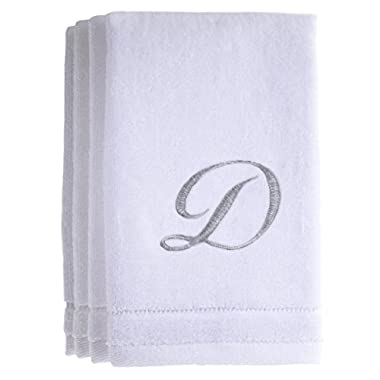 Monogrammed Towels Fingertip, Personalized Gift, 11 x 18 Inches - Set of 4- Silver Embroidered Towel - Extra Absorbent 100% Cotton- Soft Velour Finish - For Bathroom/ Kitchen/ Spa- Initial D (White)