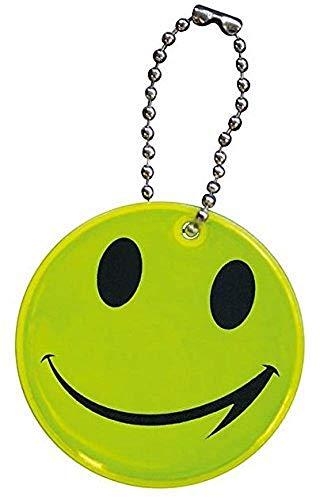 Huixing Sicherheits-Anhänger mit Gesicht, für Schultasche, Rucksack, Tasche, reflektierend, fluoreszierend, Gelb, 5 Stück