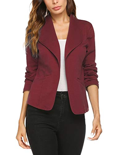 Meaneor Damen Offene Blazer Cardigan Business Anzug mit Taschen Tailliert Kurzjacke Büro Outwear