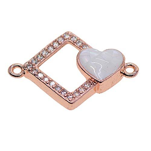 Colgante de Encanto de Conectores de Corazón de Amor Cuadrado de Colores Surtidos Apto para Pulsera de Bricolaje - Oro rosa + blanco