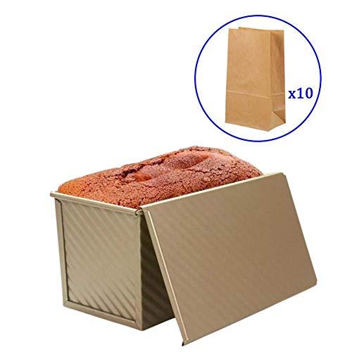 Xloves 1LB Pullman Gold Brotbackform mit Deckel, zusätzliche 10 Stück Kraft-Brot-Tasche