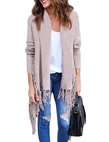 HAEMMA dames trui gebreide trui Basic onregelmatige franjes Long Sleeves Casual Outwear